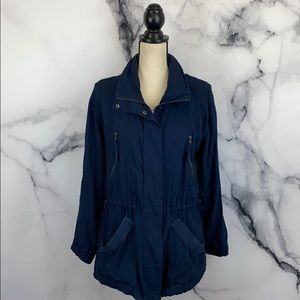 Navy blue hooded field jacket size Large